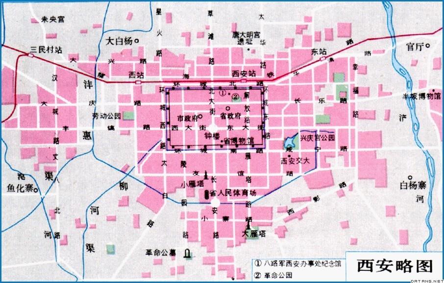 地图:西安略图; 西安市-科普博览-甘肃大众科普网